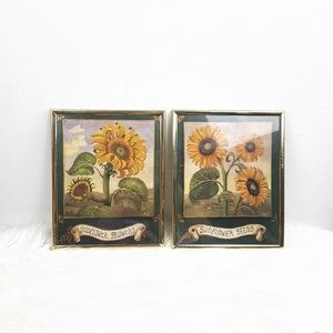 Vintage Yellow Sunflower Summer Picture Frames Set